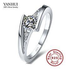 Gümüş Gönderilen Belgesi !!! Kadınlar JZR004 için% 100 Saf 925 Gümüş Yüzük Seti Lüks 0.75 karat cz pırlanta alyans yüzük (Çin (Anakara))