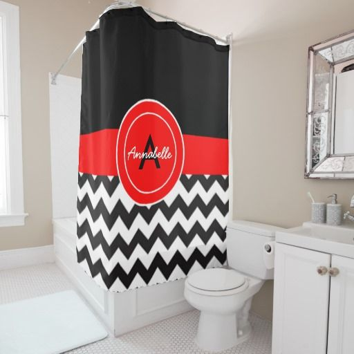 Black Red Chevron Shower Curtain