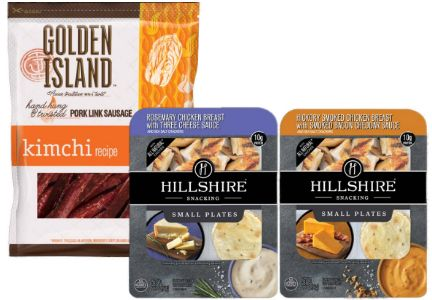 Hillshire Snacking Small Plates and Golden Island Kimchi sausage jerky, Tyson Foods