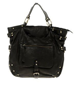 Urban Code Leather Slouch Bag with Front Pocket Black £165