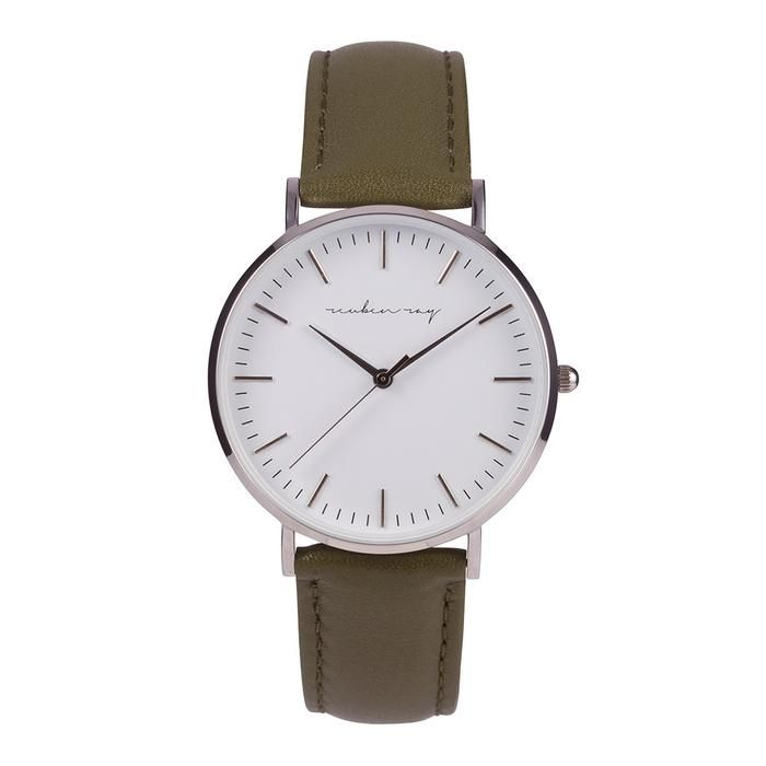 Reuben Ray Classic Silver Watch with Khaki Stitched Leather Band