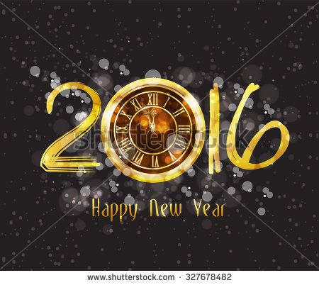 Happy New Year 2016 - Old clock - stock vector