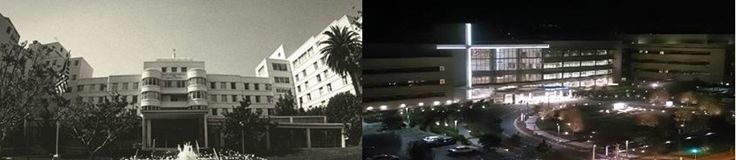 This #TBT we're remembering how far Providence Saint John's Health Center has come, from its humble beginnings as a community hospital severely damaged by an earthquake, to a beautiful beacon of healing and hope for thousands of patients and their families each year. Credits to Steve M., Engineering Supervisor at Saint John's, who took the spectacular photo of the new Mullin Plaza (right) at night.