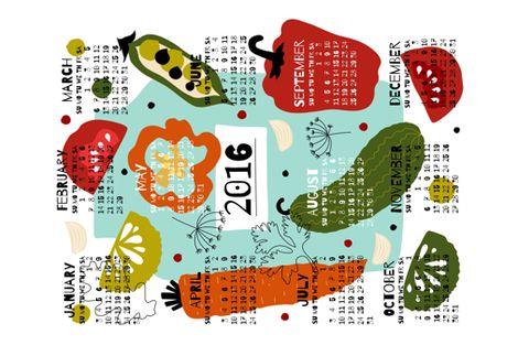 tea towel calendar 2016 by oleynikka fabric by oleynikka on Spoonflower - custom fabric