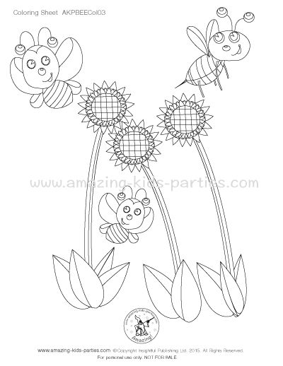 Free Little Bees Coloring Page