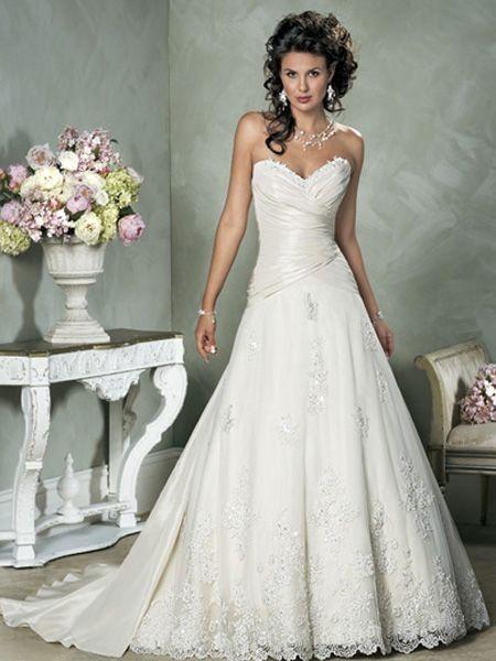 Inexpensive Wedding Dresses Design White Sweetheart Applique Beading Wedding Dress WDR58928 $186.86
