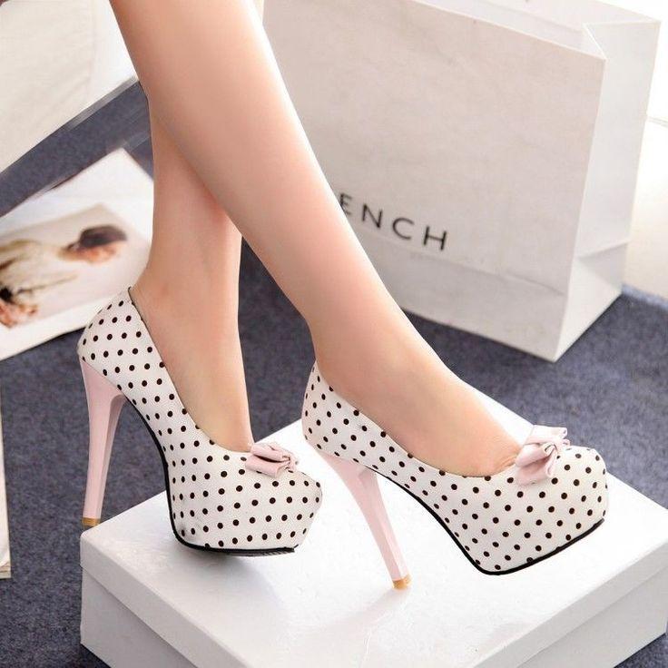 Womens Polka Dot Bowknot Pumps Hidden Platform Slim Stiletto High Heels Shoes