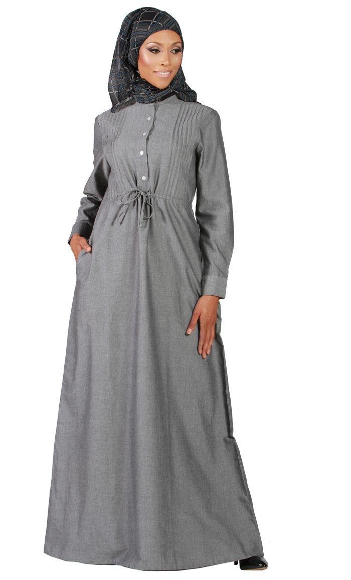 Drawstring Chambray Abaya- Grey/ Black-- East Essence