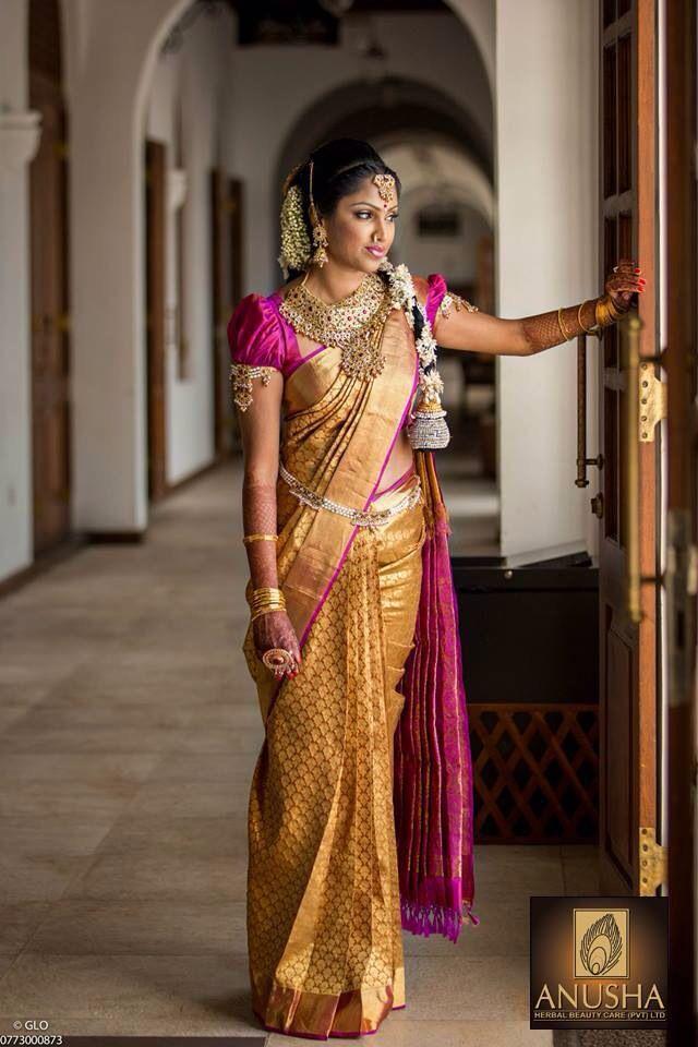 South Indian bride. Gold Kanchipuram silk sari. Hindu bride.