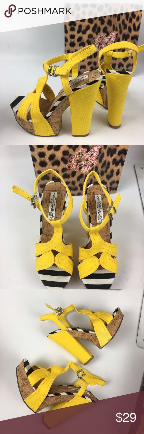 "NIB NAUGHTY MONKEY, yellow platform heels NIB Naughty Monkey, Marionette, yellow canvas, strappy peep toe platform high heels. These run 1/2 size small. Adjustable ankle strap. 1 1/2"" platform, 6"" heel. Cork platform Shoes Platforms"