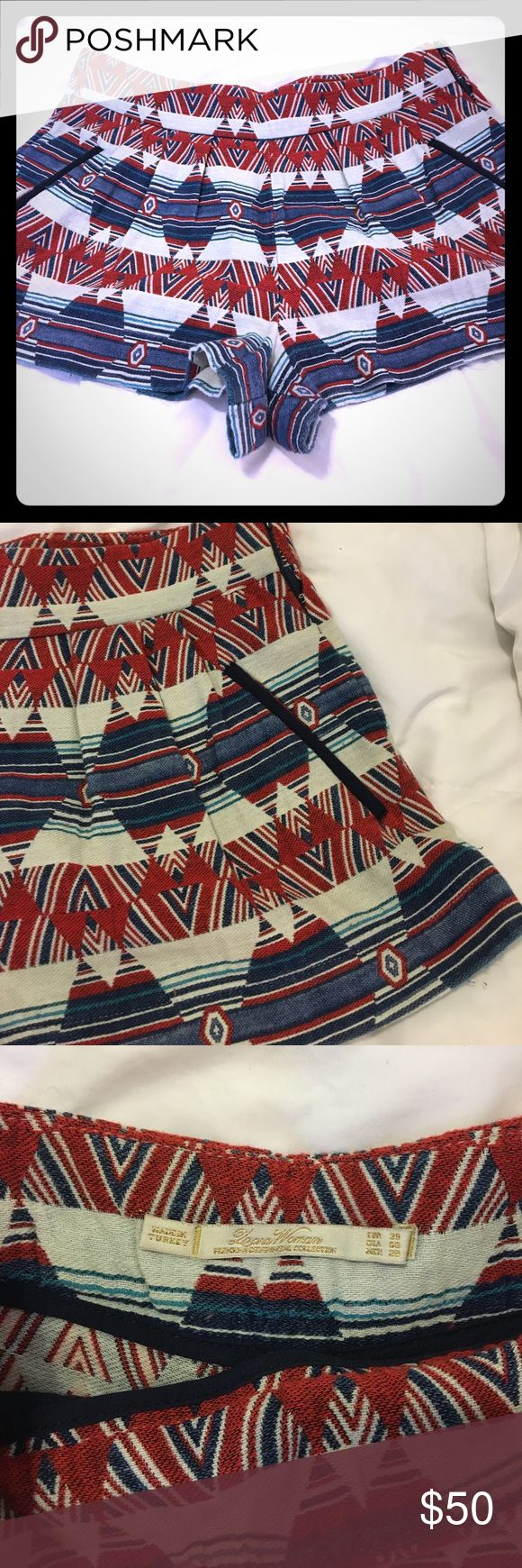 Zara Women Premium Collection Tribal Shorts Red, blue, and white tribal shorts with pockets and side zip closure Zara Shorts Skorts