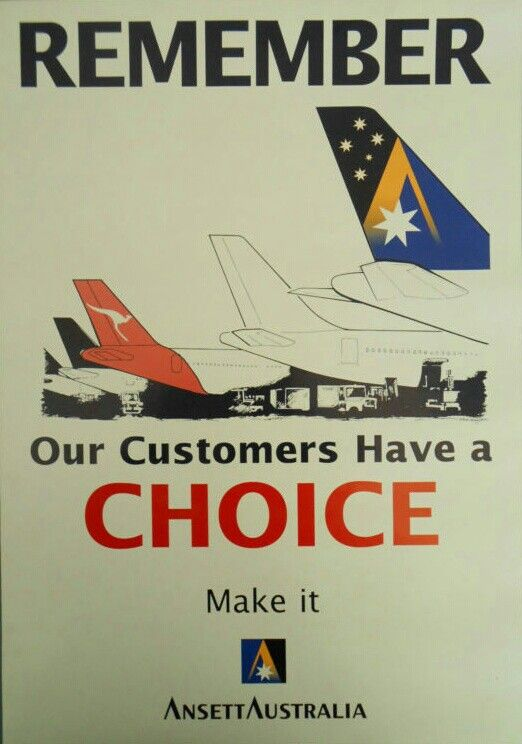 """ANSETT AUSTRALIA - """"Remember Our Customers Have a Choice Poster"""""""