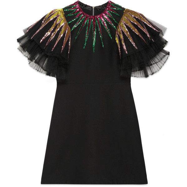 Gucci Embroidered Sequin Tulle Dress ($3,050) ❤ liked on Polyvore featuring dresses, vestido, black, ready to wear, women, sleeve cocktail dress, sequin tulle dress, tulle dress, layered dress and sequin cocktail dresses