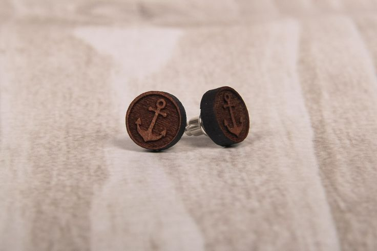 Wooden Laser Cut Big Round Anchor Earrings made in South Africa
