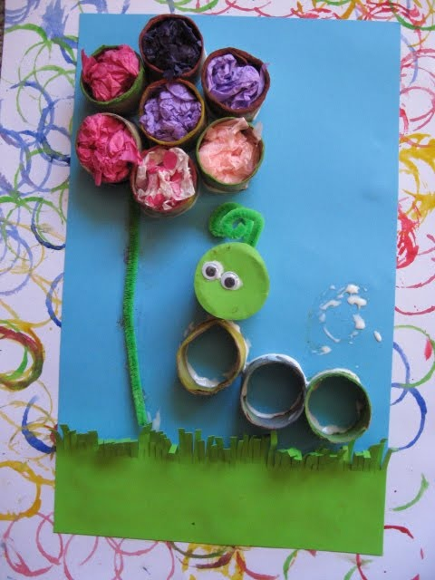 Paper roll flower and bug for a Spring unit