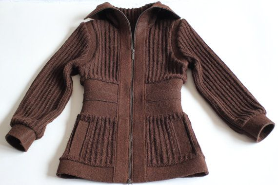 Brown knitted and felted alpaca coat