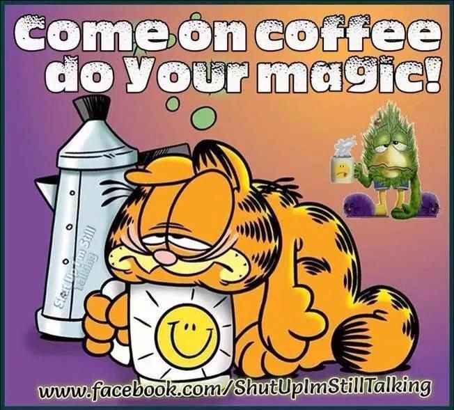 Funny Monday Morning Coffee: Come On Coffee Do Your Magic Garfield Good Morning Morning