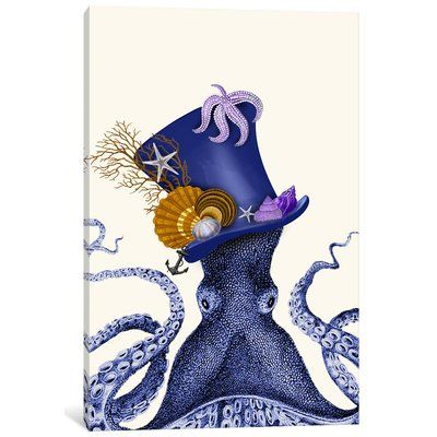 "East Urban Home 'Octopus Nautical Hat' Graphic Art Print on Canvas Size: 26"" H x 18"" W x 0.75"" D"