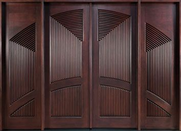 Front Entry Custom Mahogany Door - Double with 2 Sidelites  - Modern Collection - Solid Wood Mahogany