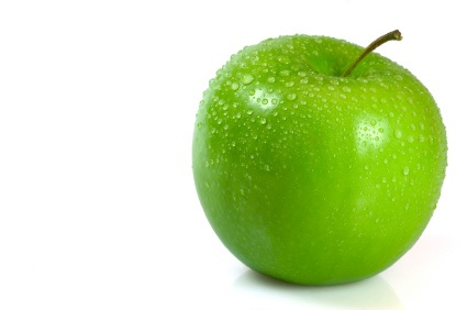 Green apple covered in water droplets isolated against a white background - photo by Hannah*quinny