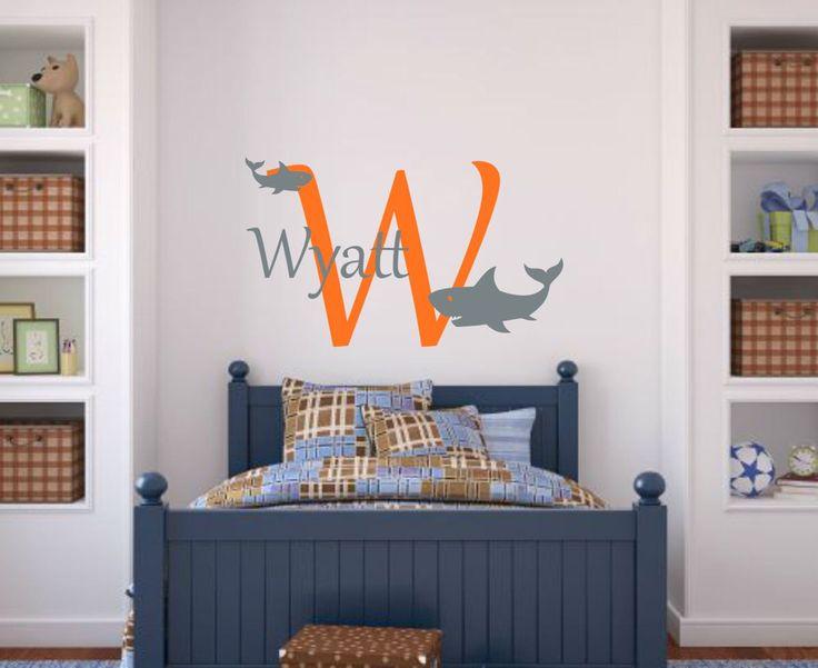 Shark Wall Decal Shark Vinyl Decal Boy Bedroom Decal Ocean Wall Decal Sea Wall Decal Shark Decal Shark Name Decal Boy Wall Decal Boy Nursery by RunWildVinylDesigns on Etsy https://www.etsy.com/listing/241358603/shark-wall-decal-shark-vinyl-decal-boy
