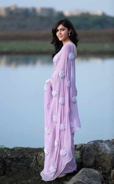 Lilac Pure Silk Georgette Ribbon-Work Saree