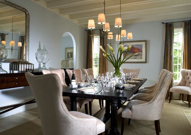 Create A Formal Dining Room With Elegant Furniture And Complementary Paint  Colors.