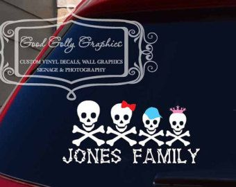 Decor By Marie On Etsy Skulls Pinterest - Family car sticker decalsfamily car decal etsy