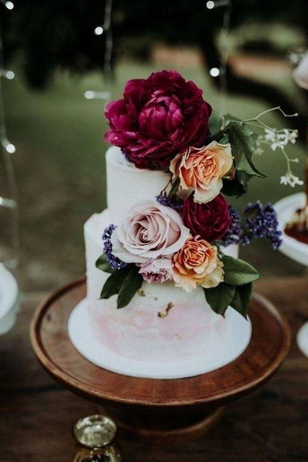 Juwel Töne Blumen Herbst Hochzeitstorte Ideen #Hochzeit #Hochzeitstorte #Hochzeit …   – Cake decor