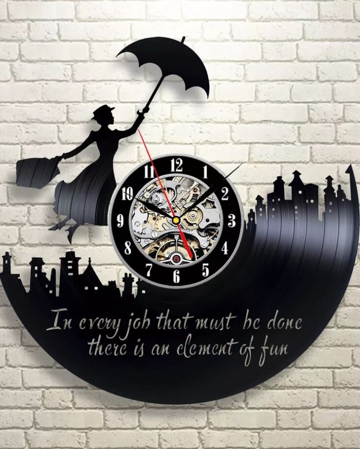 Mary Poppins vinyl record clock