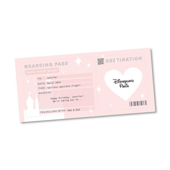 Personalised Surprise Reveal Ticket Journey Destination Card