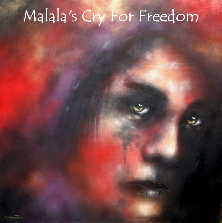 """Malala Yousafzai""  48"" x 48"" (Reflection of The Soul series) 2014 Nobel Peace Prize winner.   #MalalaYousafzai #MalalaYousafzaiNobelPeacePrizewinner #McMastersportraitofMalalaYousafzai #HeNamedMeMalala #McMasterandMalalaYousafzai #PaintingsofMalalaYousafzai #MalalaYousafzaiartwork #MalalaYousafzaimovie #HeNamedMeMalalaportraitbyMcMaster #ArtworkofMalalaYousafzai #Malalascryforfreedom #PortraitofMalalaYousafzai #BestportraitofMalalaYousafzai #ImageofMalalaYousafzai #TributetoMalalaYousafzai"