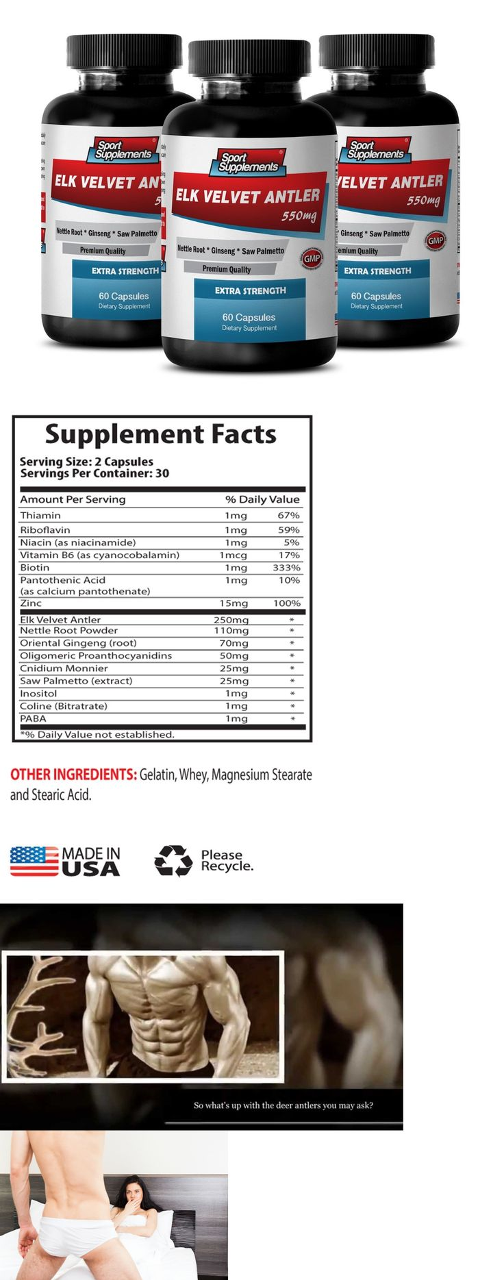Sports Diet and Weight Loss: Raise Testosterone Level Capsule - Elk Velvet Antler 550Mg - Deer Powder 3B -> BUY IT NOW ONLY: $44.95 on eBay!