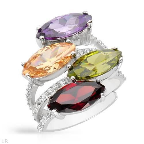 Ring With Cubic Zirconia - Size 7 Size 7. Wonderful ring with cubic zirconia beautifully designed in 925 sterling silver. Total item weight 8.9g. Gemstone info: 4 cubic zirconia, 12ctw., with marquise shape and multi color.
