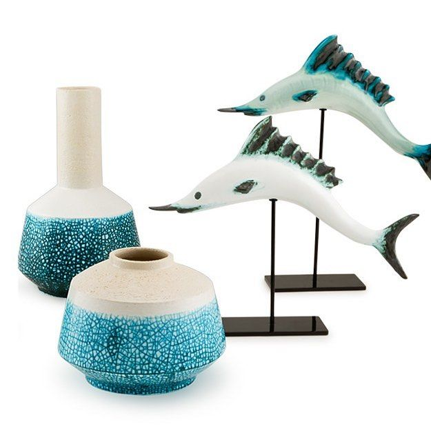 Modern Collection by #Ahura. Discover all the products at www.ahura.it  Design by @gabriele_tumiati   #ahuraitaly #italianhandmade #ceramics #pottery #handpainted #modern #collection #moderncollection #vases #sculpture #marlin #fish #blue #sea #followforfollow #follow us