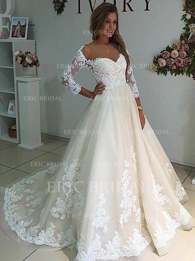 Gown Marquise Chérie Traîne mi-longue Robes de mariée avec Motifs appliqués Dentelle (002144948)