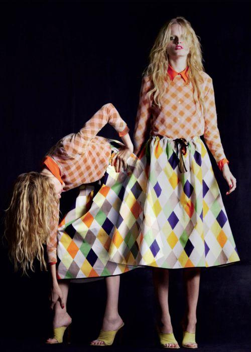 What fun pattern play! Hanne Gaby Odiele by Serge Leblon.: Gabi Odiel, Serge Leblon, Paris, Ondin Azoulay, Mixed Patterns, Mixed Prints, Color Patterns, Spring Summ 2012, He Gabi
