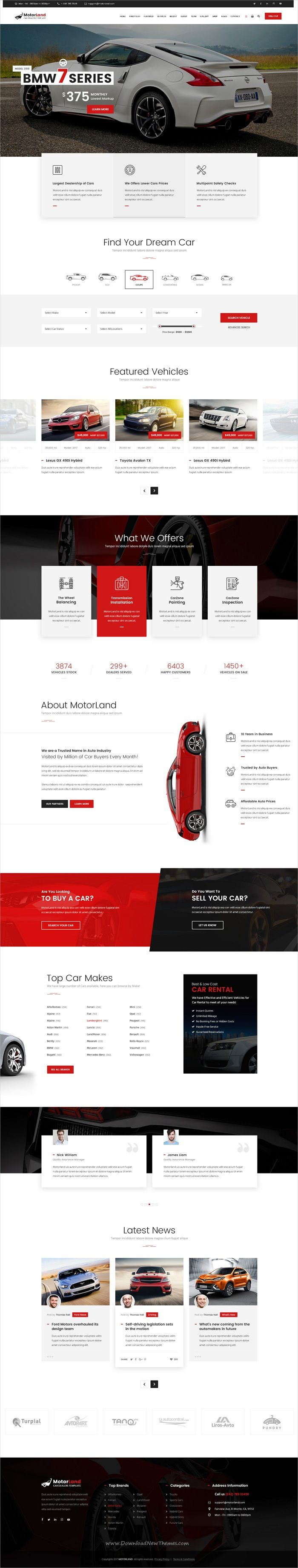 Motorland is clean and modern design #Photoshop template for car #dealer, renting, workshop and #auto accessories shop website download now..