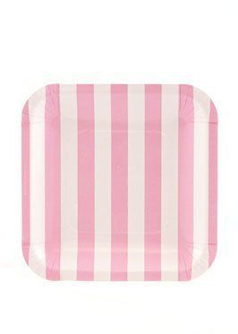 Let's Party With Balloons - Sambellina Pink Stripe Square Snack Plate, $7.95 (http://www.letspartywithballoons.com.au/sambellina-square-paper-snack-plate-pink-stripe/?page_context=category