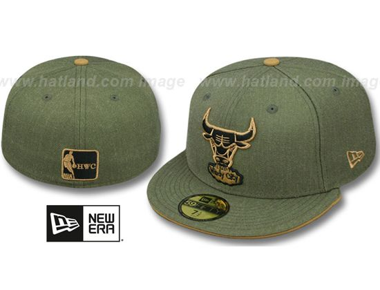 Chicago Bulls Heather Slice Olive 59Fifty Fitted Baseball Cap by NEW ERA x  NBA  c2611e56848