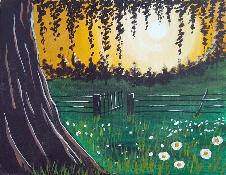 Come create Sunset in the Meadow at Pinot's Palette! #painting #girlsnightout