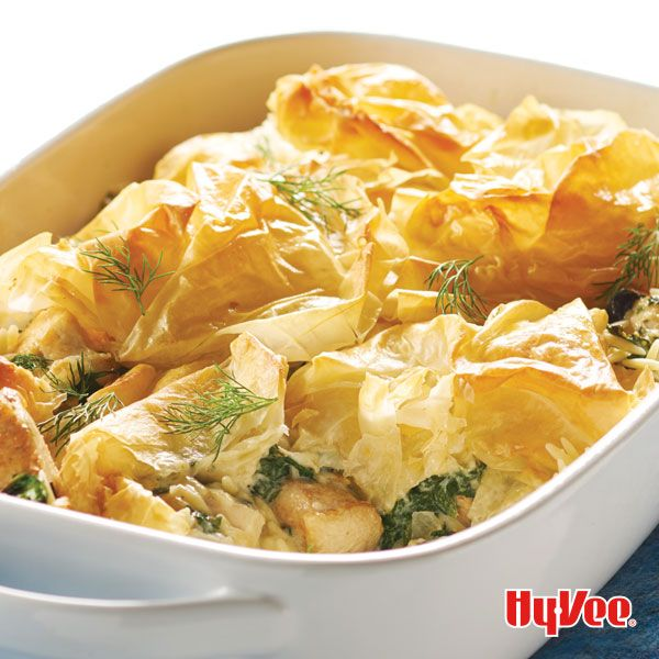 Chicken, spinach and feta cheese are the focal points of this Greek-inspired dish, topped with flaky phyllo dough. Find phyllo dough in the freeze case at your local Hy-Vee.