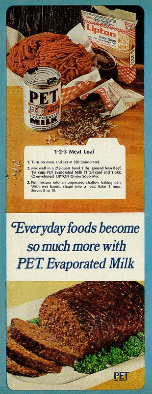 1966 PET Evaporated Milk advertisement with 1-2-3 Meat Loaf Recipe