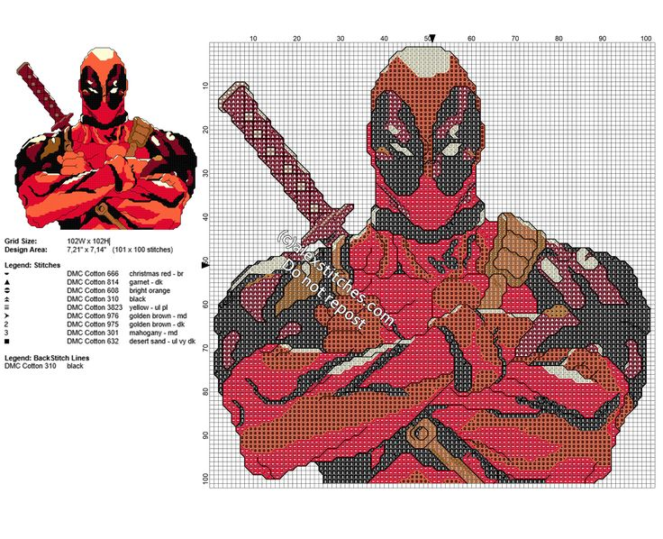Deadpool free cross stitch pattern with back stitch