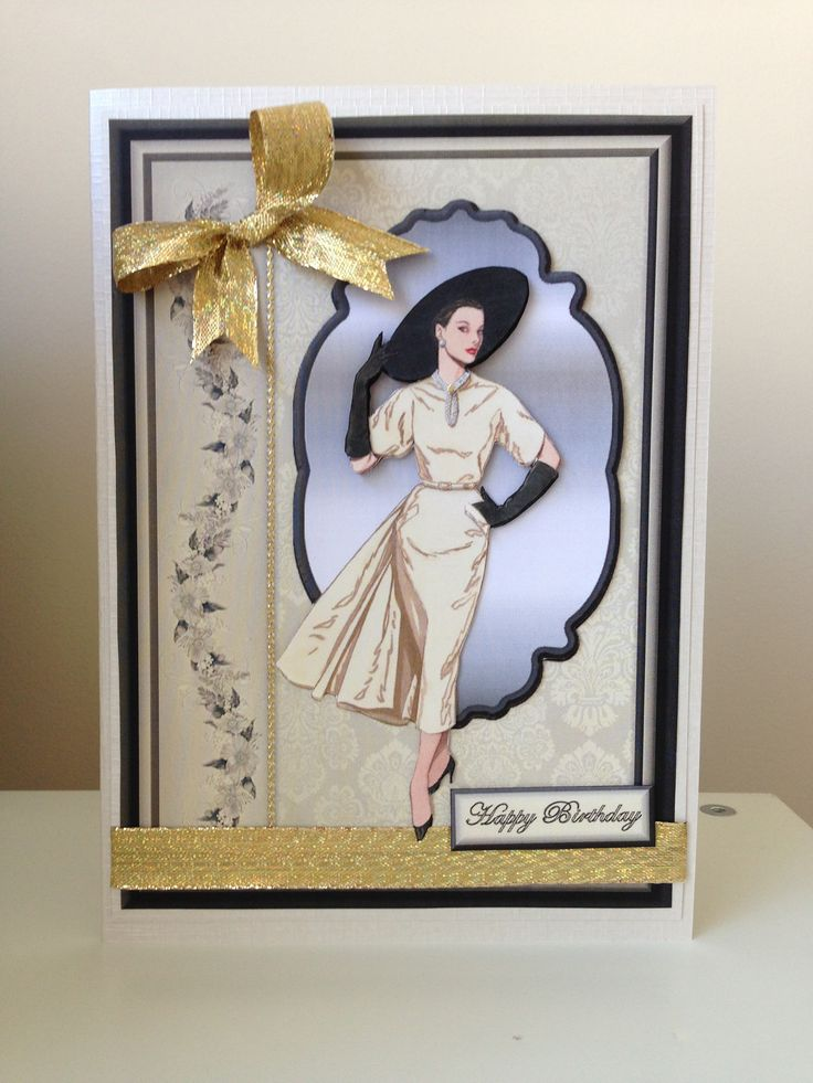 Art Deco lady birthday card for mum or nana/gran - I am following this board of beautiful cards!