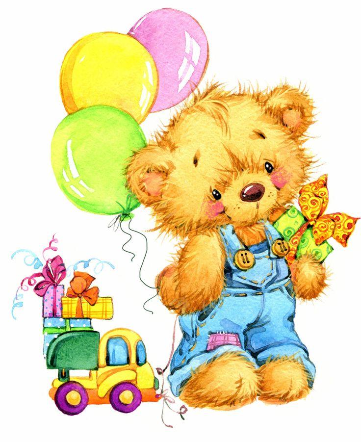 Медведь с шарами открытка, ангела нины