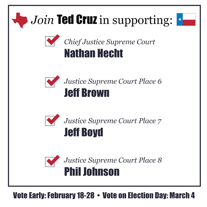 Election - Ted Cruz for Senate/  Early voting in Texas Republican Primary ends Friday, Feb 28 and Election Day is Tuesday, March 4