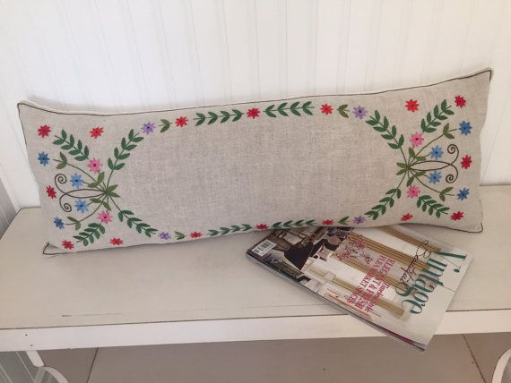 Vintage Swedish Bolster, INCLUDES Down Insert, Lumbar Embroidered Linen Scandinavian Pillow Home Decor Throw Pillows Decorative Cover