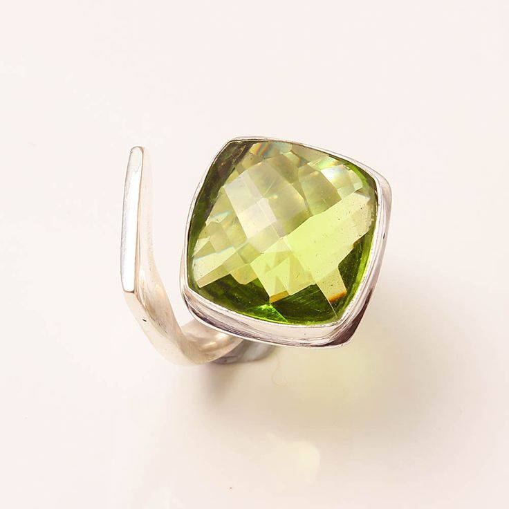 Green Amethyst 925 Sterling Silver Jewelry Ring 5