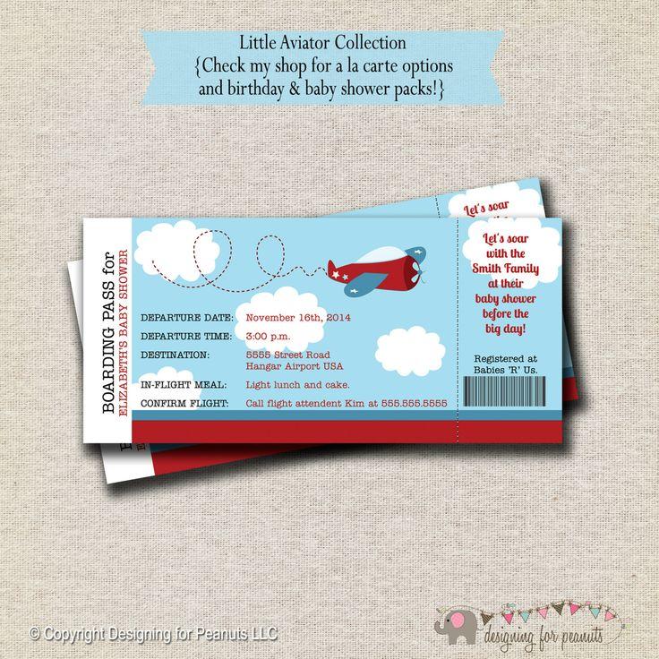 Airplane Baby Shower Ticket Invitation by designingforpeanuts